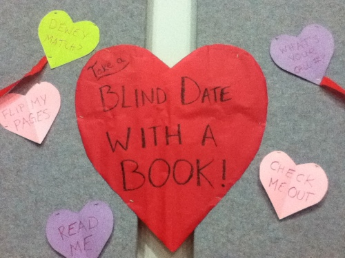 Adorable library-themed conversation hearts really complete the decor.